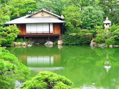 Tea house nearby a pond